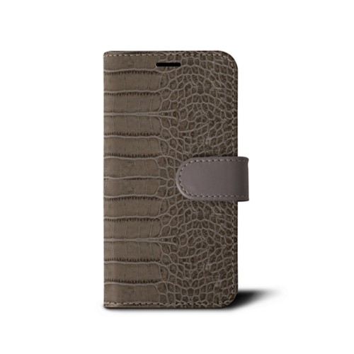 iPhone 7 wallet case - Light Taupe - Crocodile style calfskin