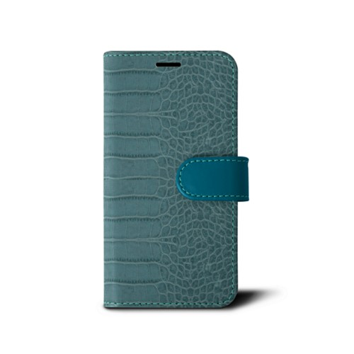 iPhone 7 wallet case - Turquoise - Crocodile style calfskin