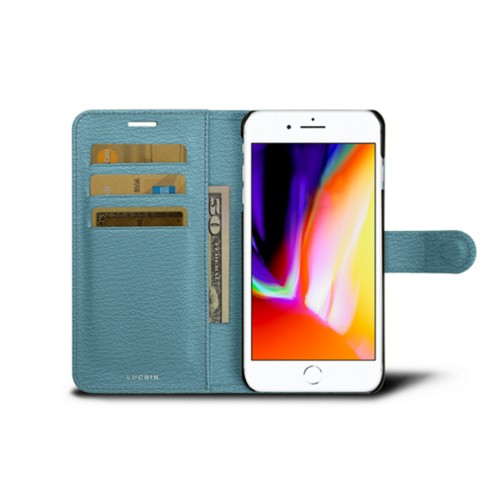 iPhone 8 Plus wallet case - Sky Blue - Goat Leather