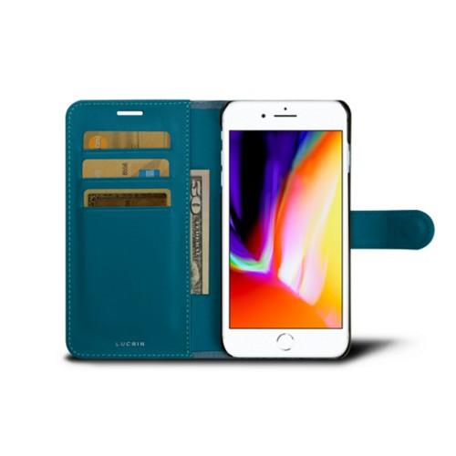 iPhone 8 Plus-Hülle im Brieftaschenformat - Türkisblau - Leder in Krokodil- Optik