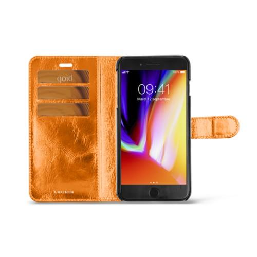 iPhone 8 Plus wallet case - Orange - Metallic Leather