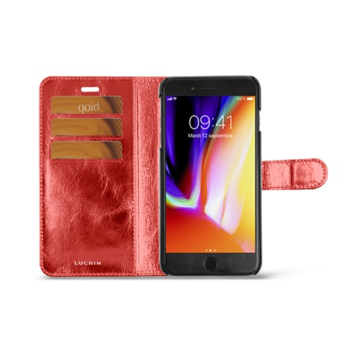 iPhone 8 Plus wallet case - Red - Metallic Leather