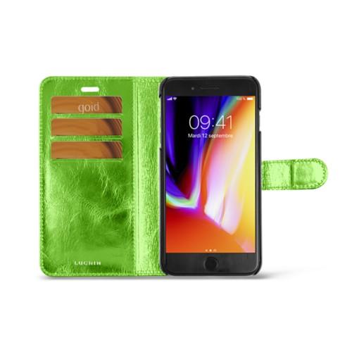 iPhone 8 Plus wallet case - Light Green - Metallic Leather