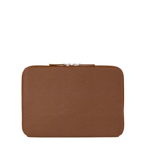 Schutzhülle mit Reißverschluss für iPad Pro 10,5 Zoll - Cognac - Genarbtes Leder
