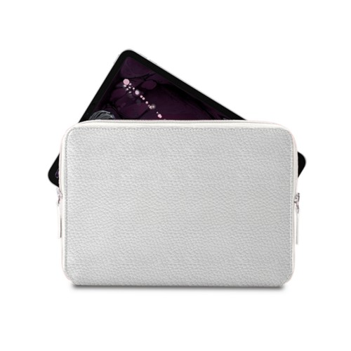 "Zipped case for iPad Pro 11"" - White - Granulated Leather"