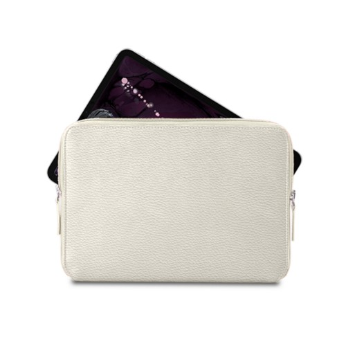 "Zipped case for iPad Pro 11"" - Off-White - Granulated Leather"