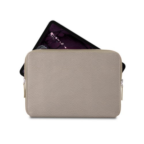 """Zipped case for iPad Pro 11"""" - Light Taupe - Granulated Leather"""