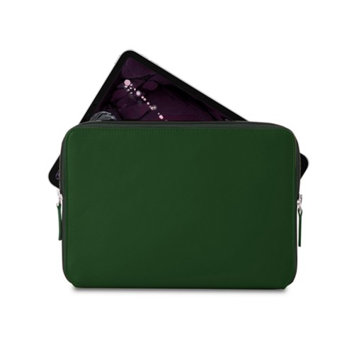 """Zipped case for iPad Pro 11"""" - Dark Green - Smooth Leather"""