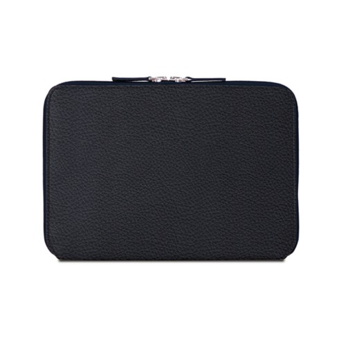 iPad Air ジップアップラウンドスリーブ - Navy Blue - Granulated Leather