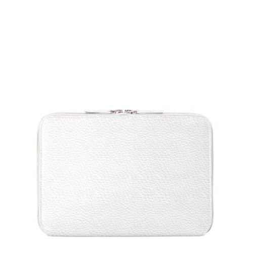 Funda con cremallera para iPad Air - Blanco - Piel Grano