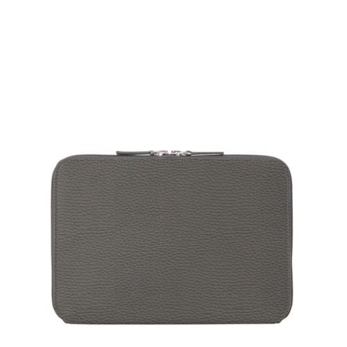 Housse Zippée pour iPad Air - Gris Souris - Cuir Grainé