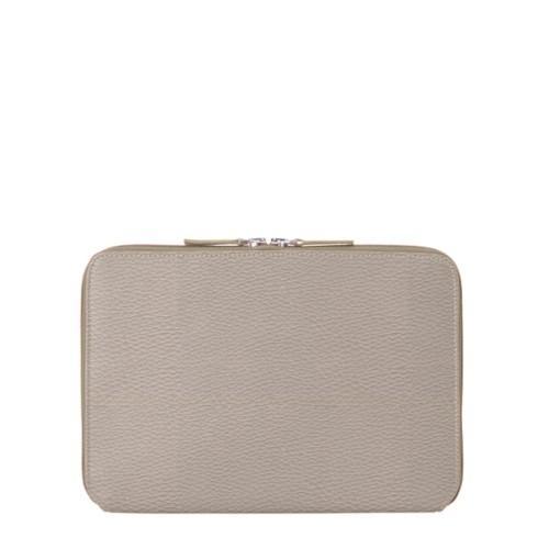 iPad Air ジップアップラウンドスリーブ - Light Taupe - Granulated Leather
