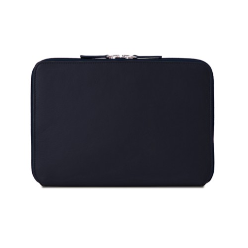 iPad Air ジップアップラウンドスリーブ - Navy Blue - Smooth Leather