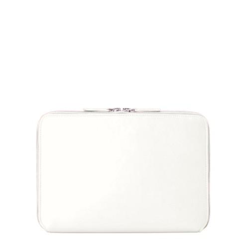Housse Zippée pour iPad Air - Blanc - Cuir Lisse