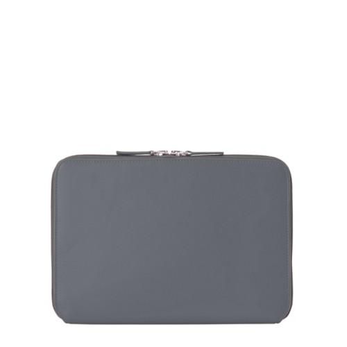 Housse Zippée pour iPad Air - Gris Souris - Cuir Lisse