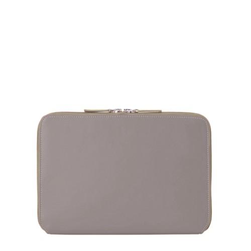 iPad Air ジップアップラウンドスリーブ - Light Taupe - Smooth Leather