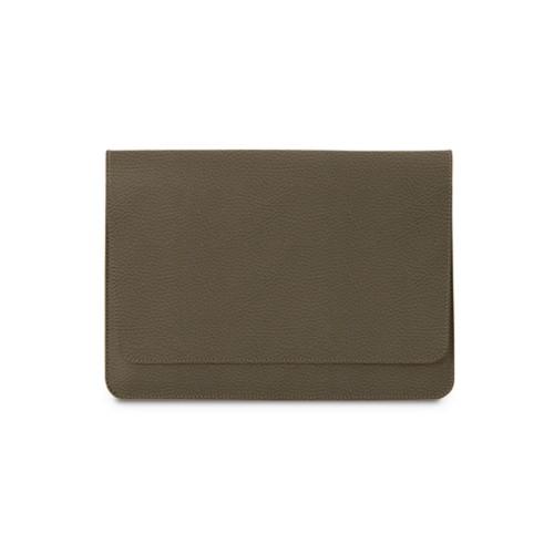 Tasche mit Klappe iPad 10.5 - Dunkeltaupe - Genarbtes Leder