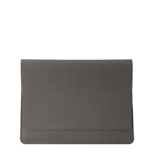 Serviette à rabat iPad Air - Gris Souris - Cuir Grainé