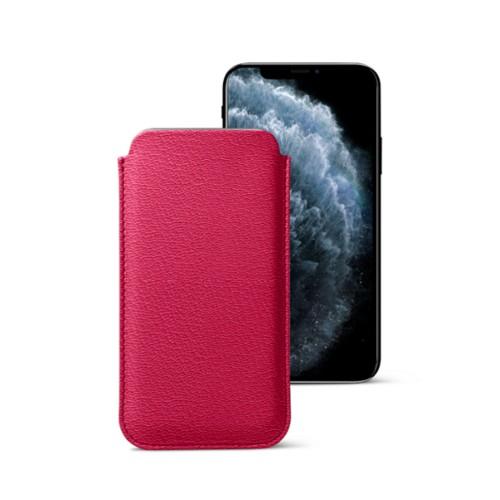 Classic Case for iPhone X - Fuchsia-Orange - Goat Leather