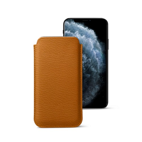 Classic Case for iPhone X - Saffron-Light Taupe - Goat Leather