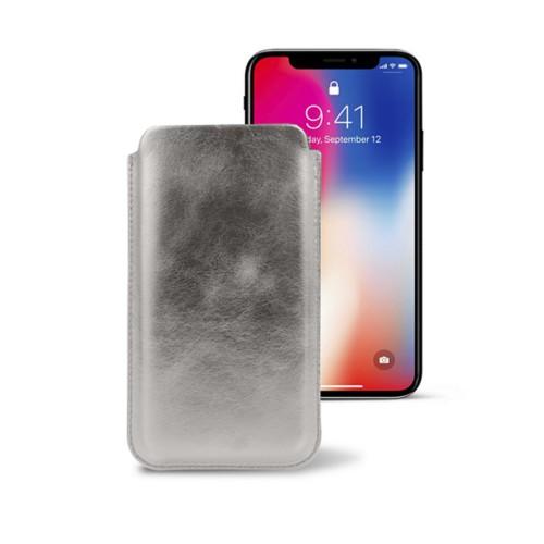 Étui classique iPhone X - Argenté - Cuir Métallisé