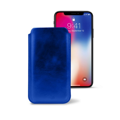 Classic Case for iPhone X - Royal Blue - Metallic Leather