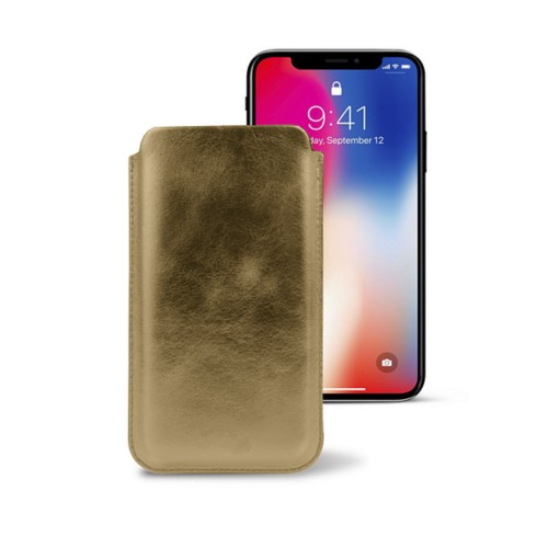 Classic Case for iPhone X - Golden - Metallic Leather