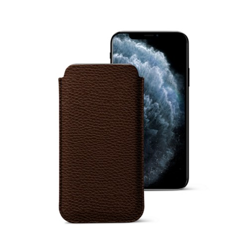Classic Case for iPhone X - Dark Brown - Granulated Leather