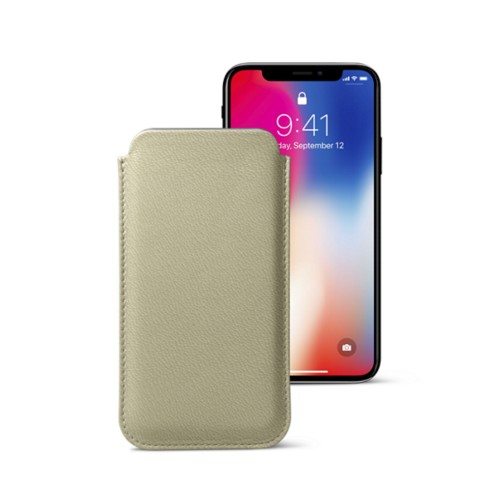 Classic Case for iPhone X - Off-White-Mouse-Grey - Goat Leather