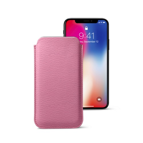 Classic Case for iPhone X - Pink-Dark Taupe - Goat Leather