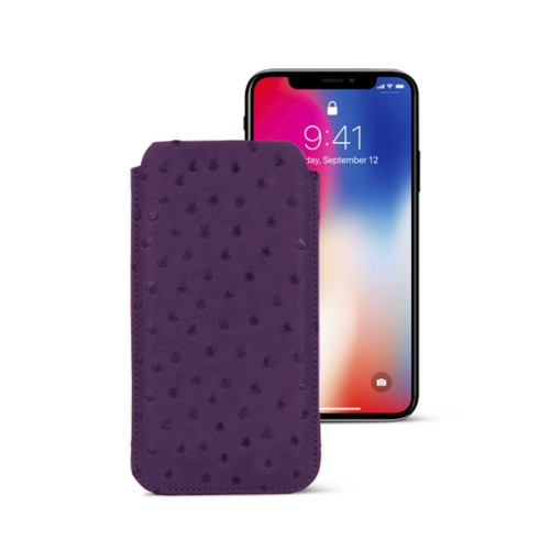 Classic Case for iPhone X - Purple - Real Ostrich Leather