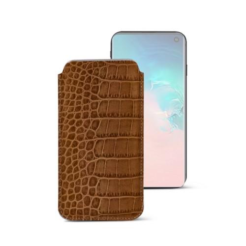 Klassieke Hoes voor Samsung Galaxy S10e - Camel - Krokodilstijl Kalfsleer