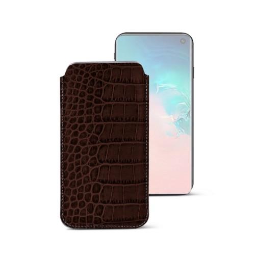 Klassieke Hoes voor Samsung Galaxy S10e - Donkerbruin - Krokodilstijl Kalfsleer