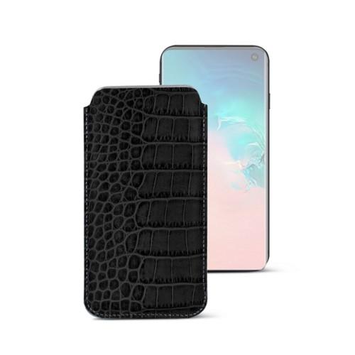 Klassieke Hoes voor Samsung Galaxy S10e - Zwart - Krokodilstijl Kalfsleer