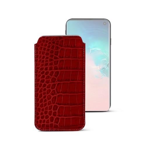 Klassieke Hoes voor Samsung Galaxy S10e - Rood - Krokodilstijl Kalfsleer