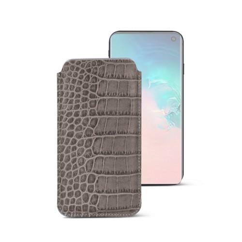 Klassieke Hoes voor Samsung Galaxy S10e - Licht Taupe - Krokodilstijl Kalfsleer