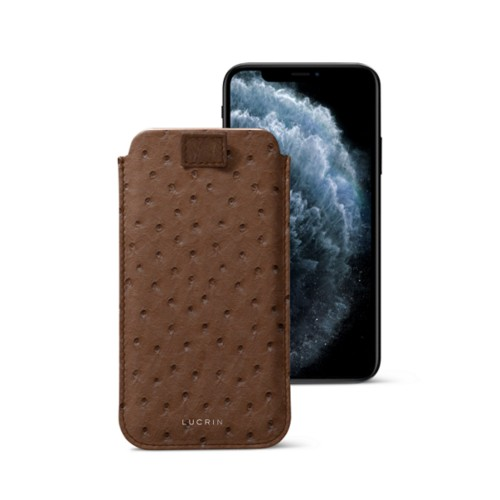 iPhone X case with pull tab - Tobacco - Real Ostrich Leather