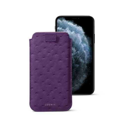 iPhone X case with pull tab - Purple - Real Ostrich Leather