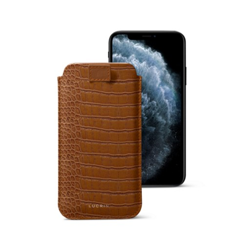 iPhone X case with pull tab - Camel - Crocodile style calfskin