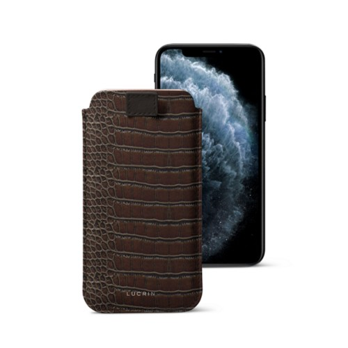 iPhone X case with pull tab - Dark Brown - Crocodile style calfskin