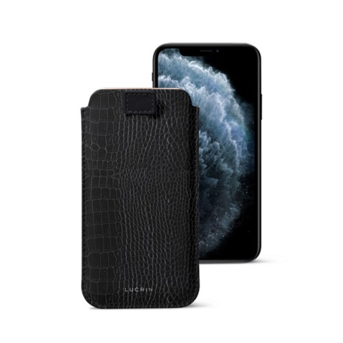 iPhone X case with pull tab - Black - Crocodile style calfskin