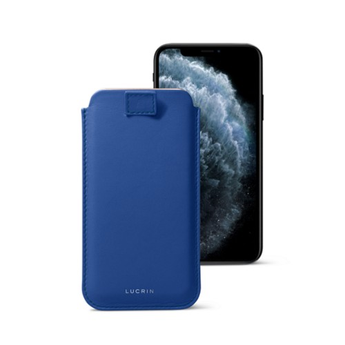 iPhone X case with pull tab - Royal Blue - Smooth Leather