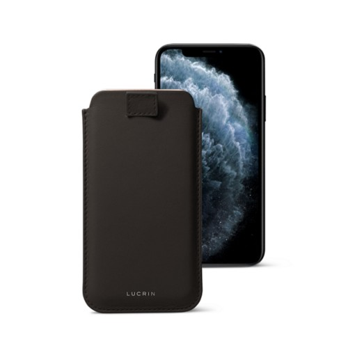 iPhone X case with pull tab - Dark Brown - Smooth Leather