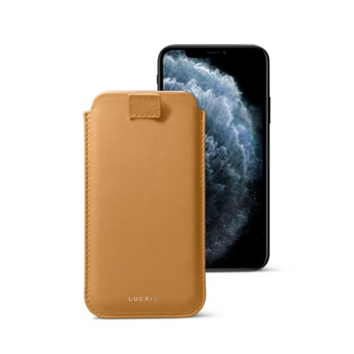 iPhone X case with pull tab - Natural - Smooth Leather