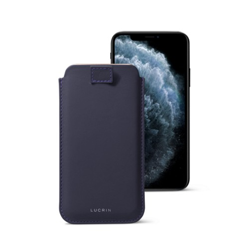 iPhone X case with pull tab - Purple - Smooth Leather