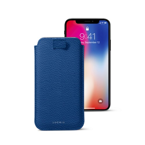 iPhone X case with pull tab - Royal Blue - Granulated Leather