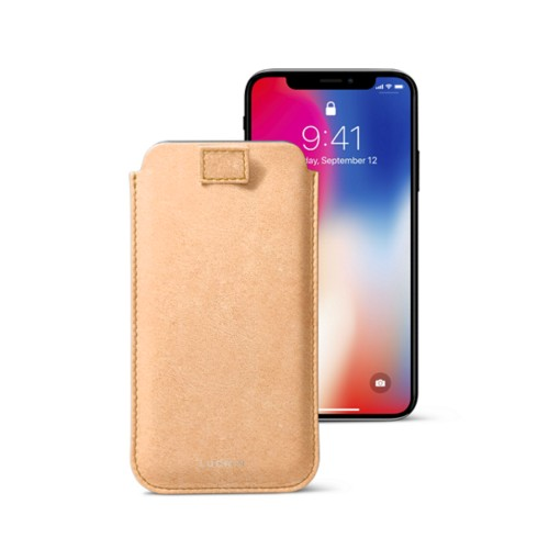 iPhone X case with pull tab - Natural - Vegetable Tanned Leather