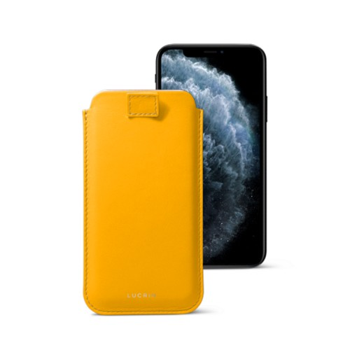 Funda con lengüeta para iPhone 11 Pro - Amarillo sol - Piel Liso