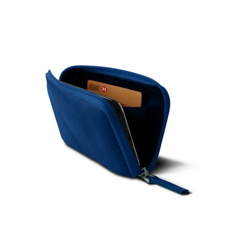 Zipped pouch for iPhone X - Royal Blue - Granulated Leather