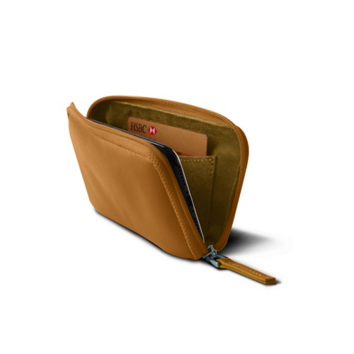Zipped pouch for iPhone X - Natural - Smooth Leather